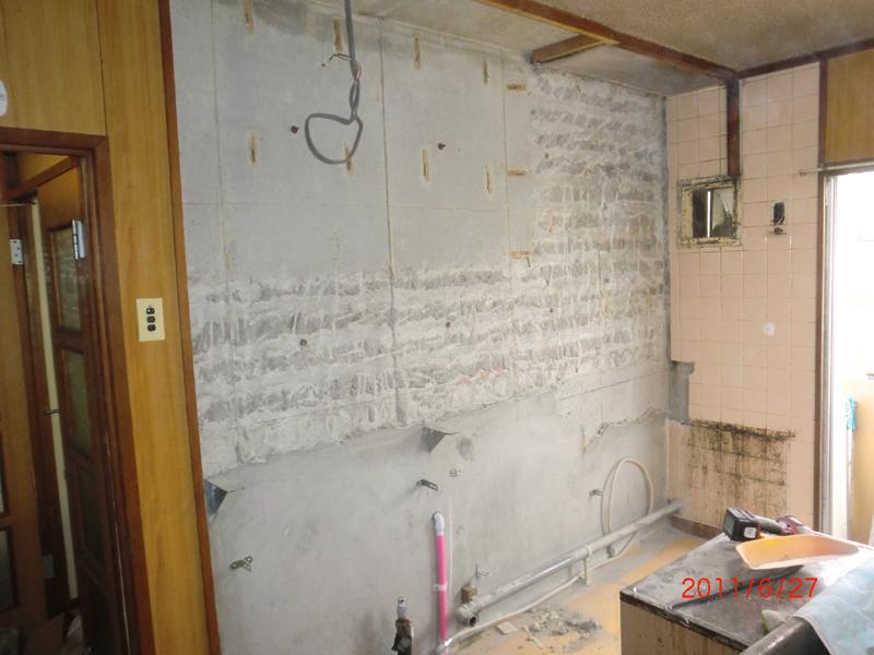 システムキッチン交換工事 施工中
