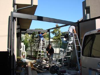 施工例:カーポートの工事開始