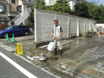 施工例:駐車場を洗浄